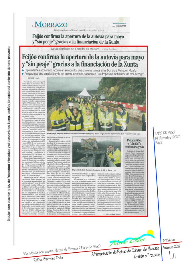 """Feijóo confirma la apertura de la autovía para mayo y """"sin peaje"""" gracias a la financiación de la Xunta"""