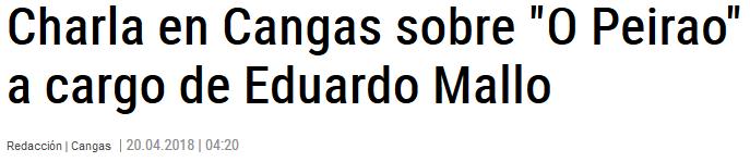 """Charla en Cangas sobre """"O Peirao"""" a cargo de Eduardo Mallo"""
