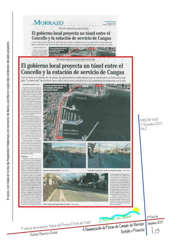 El gobierno local proyecta un túnel entre el Concello y la estación de servicio de Cangas