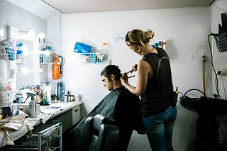 RJ Mitte from Breaking Bad getting haircut