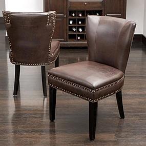 2 leather brown dining chairs upholstered accent living room chair vintage studs ebay. Black Bedroom Furniture Sets. Home Design Ideas