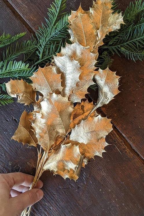 Branche de gui naturel & doré