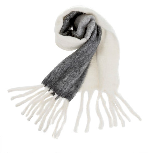 Foulard confort gris & blanc