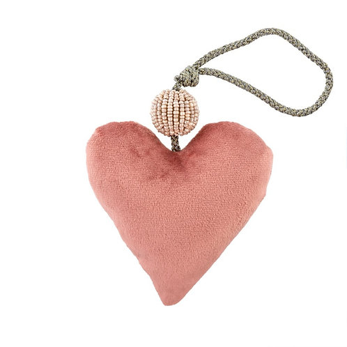 Ornement cœur velours rose