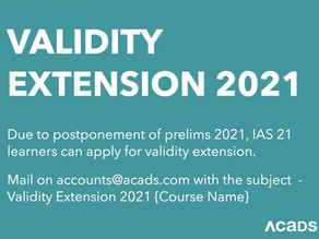 Validity Extension for IAS 2021 Learners