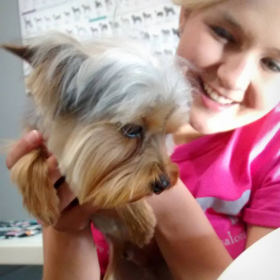Female in pink shirt holding a small yorkie