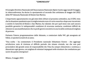L'Adunata di Rimini è rinviata al maggio 2022