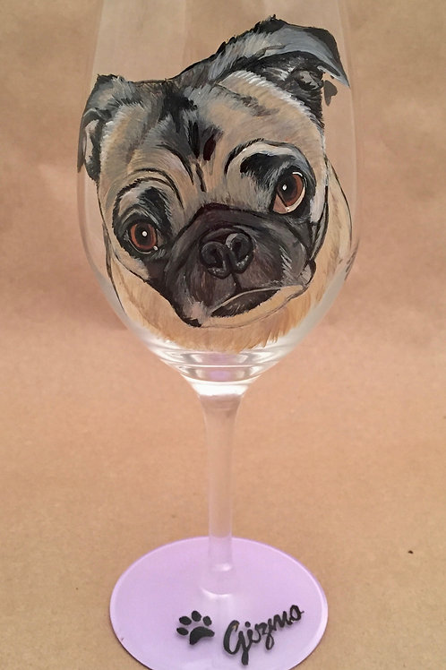 Pet Portrait Wine Glass (includes tax/SH)