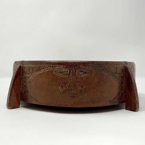 Roycroft Tooled Leather Sewing Basket