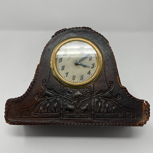 Roycroft Leather Tooled Desk Clock