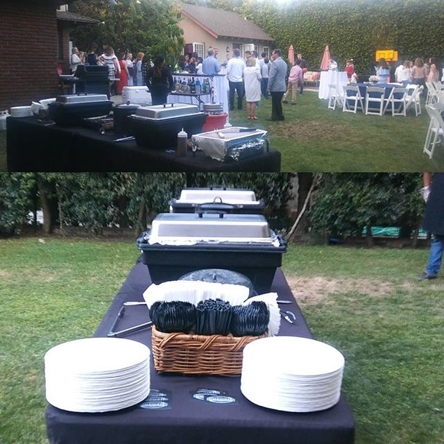 Time to serve dinner. It's a nice evening for a BBQ.__Book your event now! Call (310) 559-5709. Cate