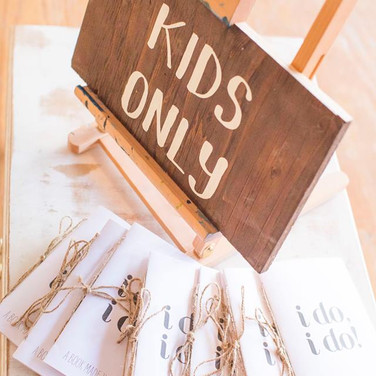 """KIDS ONLY SIGN  This is such a cute addition to an event space. Create a """"Kids Only""""table full of games and goodies.  Remember, if the kids are happy, you are happy.  :)  Dimensions: 9""""x17""""  Qty: 1"""