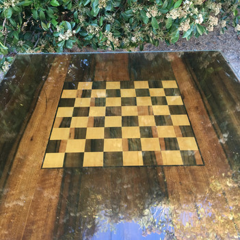 """VINTAGE CHESS TABLE  We inherited this beautiful, Vintage Chess Table.   It's quite heavy but it folds flat and has a ton of character!  Young and old will enjoy this old pass time.  Dimensions: 32.5 x 32.5 x 26"""""""