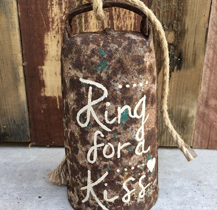 """RUSTIC COWBELL  Don't forget to ring it for a kiss!  Dimensions: 4"""" x 6""""  Qty: 1"""