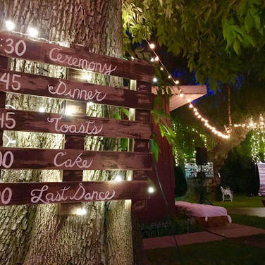 """PALLET SCHEDULE  Our rusticPallet Schedule is just too cute.  You tell us your schedule and we create a magicaltimelineof your Big Day.  Dimensions: 29"""" x 31""""     Qty: 1"""
