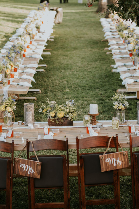 """FARMHOUSE TRESTLE TABLES  Our rustic TrestleTables are built from reclaimed wood. No single table is alike. They're """"imperfectly perfect"""" for any occasion.  Dimensions: 96"""" x 36 x 31""""  Seats 6 - 10 guests    Qty: 14"""