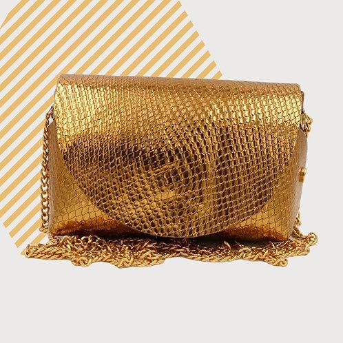 3614 Borsa a spalla color oro in pelle. Artigianale fatta a mano.