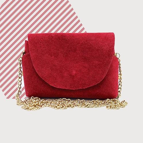 3610 UCNBC - Borsa a spalla rossa in pelle. Artigianale fatta a mano.