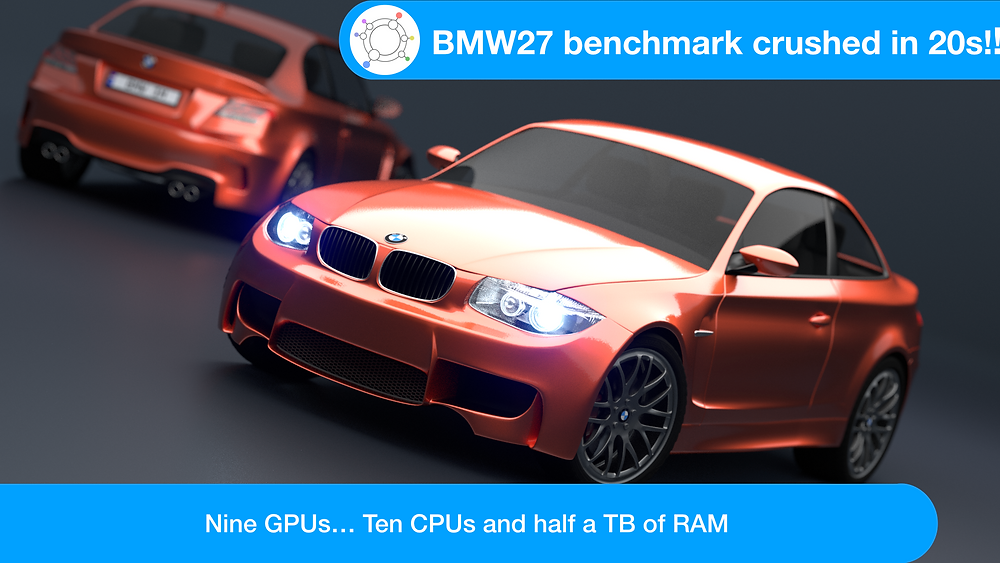 """Computer Rendering of the BMW M1 Coupe with caption """"BMW27 benchmark crushed in 20s!!"""" and """" Nine GPUs... Ten CPUs and half a TB or RAM"""""""