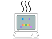A computer with a sad face rendered in large pixels with three black wavy lines coming from atop the monitor. The pixels of the sad face are different colours, red yellow, green, blue, violet and purple