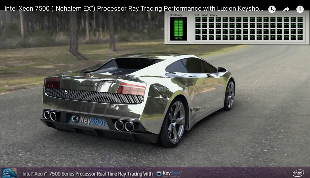 Still image from a video of Intel's demonstration of real time reflective ray tracing