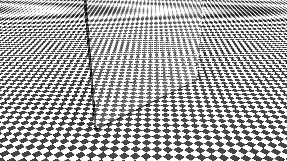 3d render of glass plate with checkered background