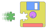 A floppy diskette with a piece missing from the body of the disk. The missing piece is in the shape of a piece from a jigsaw puzzle. There is a matching piece flying in from the left to fill the hole in the disk. The disk is coloured red, yellow, blue, violet and purple. The puzzle piece is green.