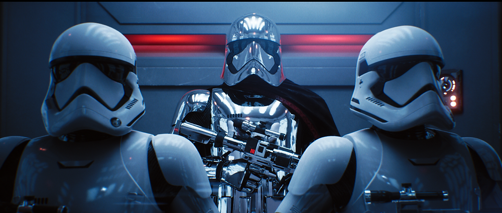 Uneal Engine real time ray tracing demo of three star wars characters in a lift