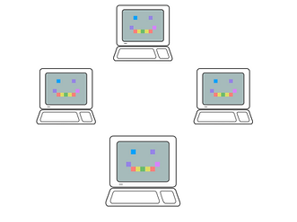 Four computers arranged in a diamond pattern. Each computer has the same smilling face rendered in large pixels. The pixles are different colours, red, yello, blue, green, violet and purple