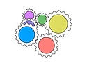A collection of gears which have white teeth and colored interiors. The colours are red, yellow, blue, green, violet and purple