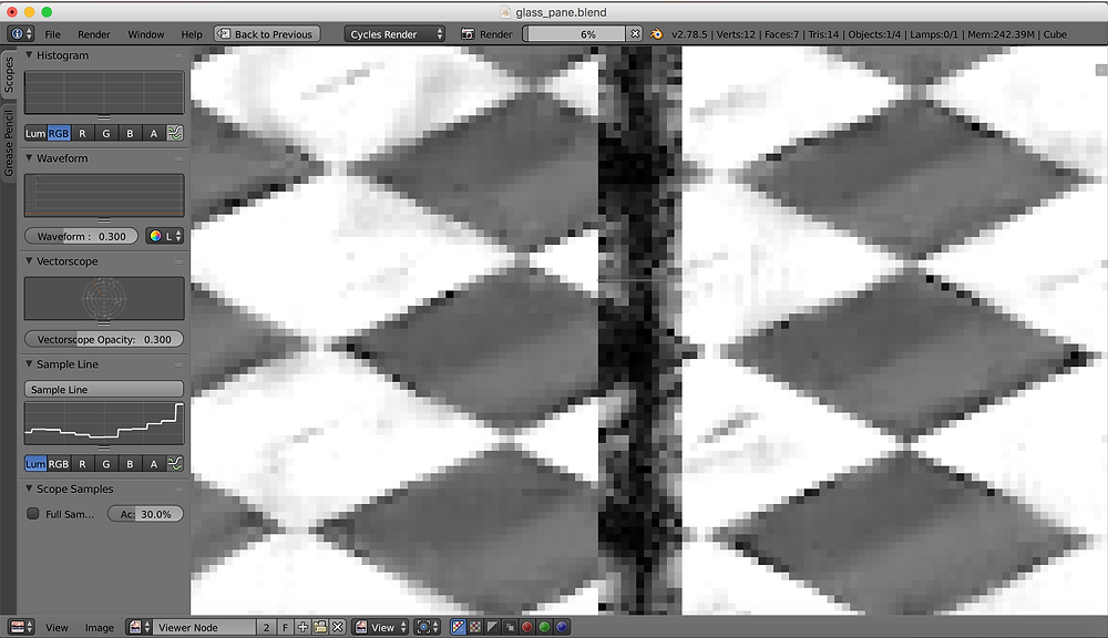 Close up of a 3d render where two image tiles overlap showing noise in the image data