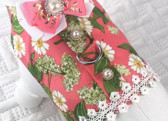 Pink Designer Chanel Harness W/ Flowers