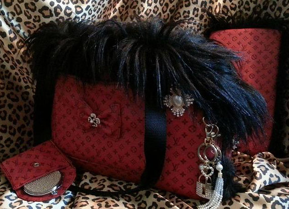 Red and Black Louis Vuitton Luxury Pet Carrier
