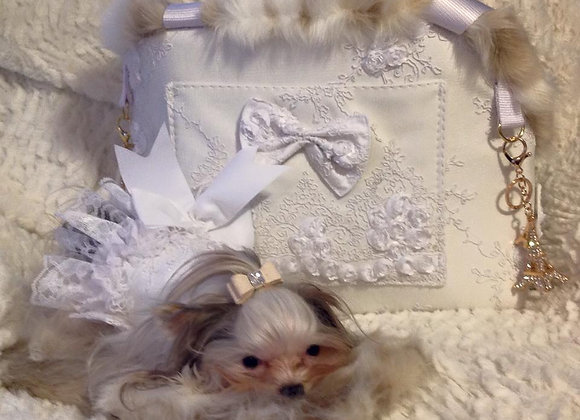 White Lace Luxury Pet Carrier