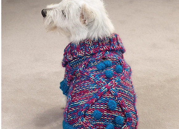 Knitted Sweater with Pom Poms