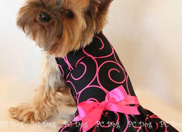 Pink & Black Spiral Dress