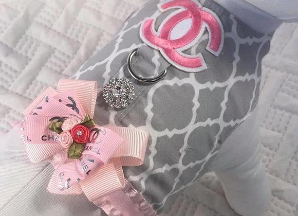 Pink & Grey Chanel Designer Harness