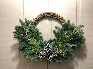 Mixed Green and Wicker Wreath Handcrafted in Damascus, OR