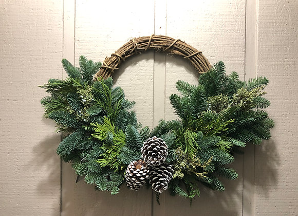 Wicker and Mixed Green Wreath