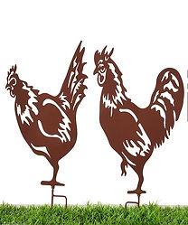 Iron Garden Rooster Stake,2Asst