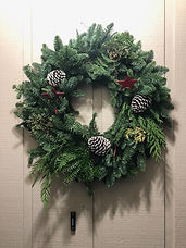 Classic Wreath with mixed greens and red stars