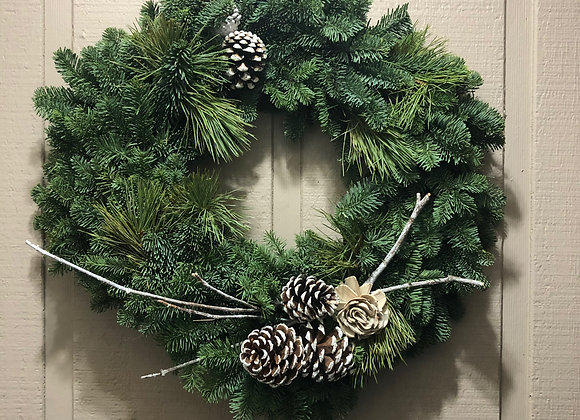 Mixed Green Square Wreath