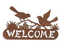 Iron Welcome Wall Deco w/Birds