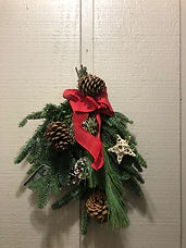 Mixed Greens Pine Cone Bundle Door Hanger