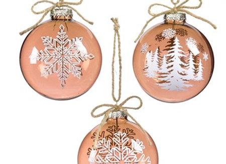 Glass Ball w/White Snowflake Ornament