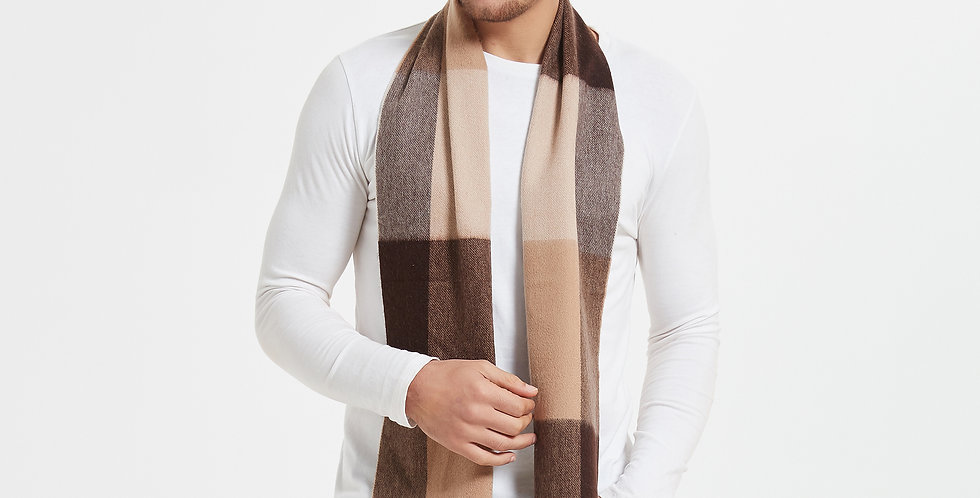 100% Organic Men's Plaid Cashmere Scarves
