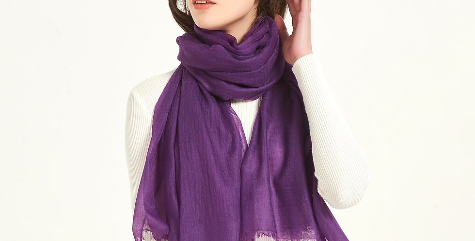 Luxurious Featherlight Cashmere Scarves / Shawls - Eggplant