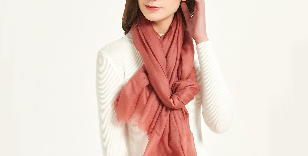 Luxurious Featherlight Cashmere Scarves / Shawls - Terracotta