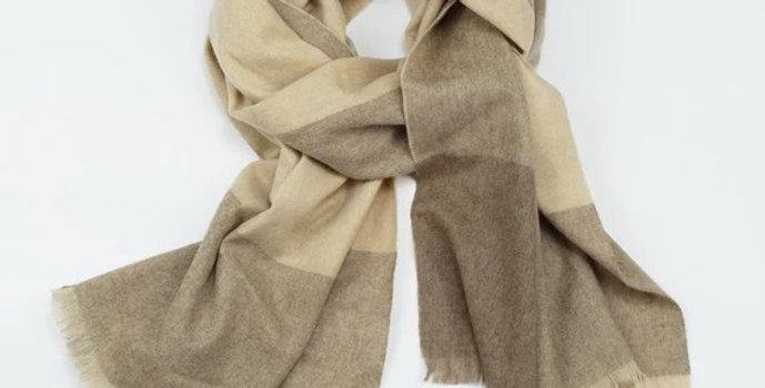 Organic Fine Wool Scarf - Coffee & Cream Plaid