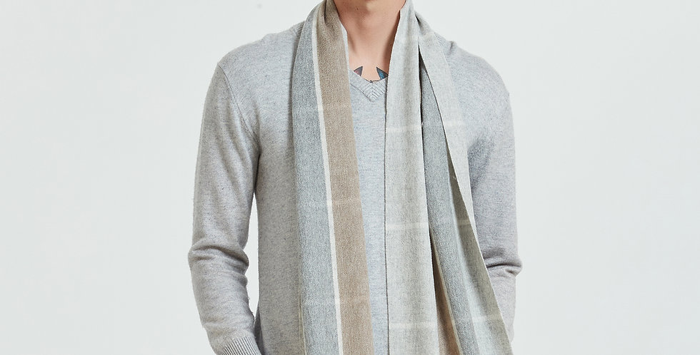 100% Organic Men's Plaid Cashmere Scarves